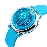 Digital reloj, niños reloj, niños niñas niños Multi Función Digital LED alarma Cronómetro retroiluminación impermeable reloj deportivo (Azul)