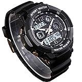 CFGem Puntero y Digital Deporte Impermeable Reloj de Hombre con PU Banda de Plástico y Minutero SKM-0931 Negro