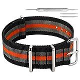 20 mm Bandas de una Sola Pieza del Reloj de perlón Nylon Estilo de la NATO Tirantes Negro/Gris/Naranja Hombres exquisitos