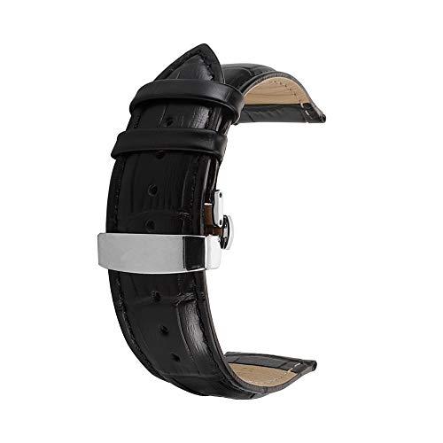 Correa De Reloj Cuero del Becerro Correa De Repuesto Pulsador Mariposa Deployant Clasp Ajuste para Tradicional Deportivo Reloj Inteligente 20mm Negro