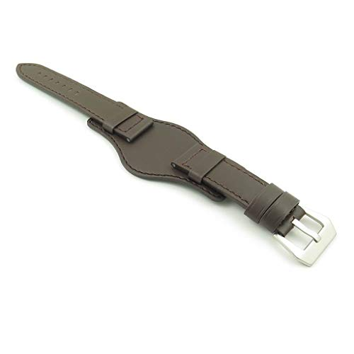 DASSARI Empire - Correa de piel italiana para reloj (compatible con Panerai, tamaño 24 mm, 24/22), color marrón oscuro