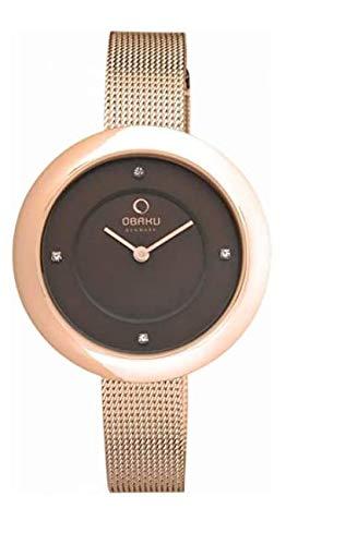 Obaku Denmark V162LXVNMV - Reloj de pulsera plano para mujer con correa de metal