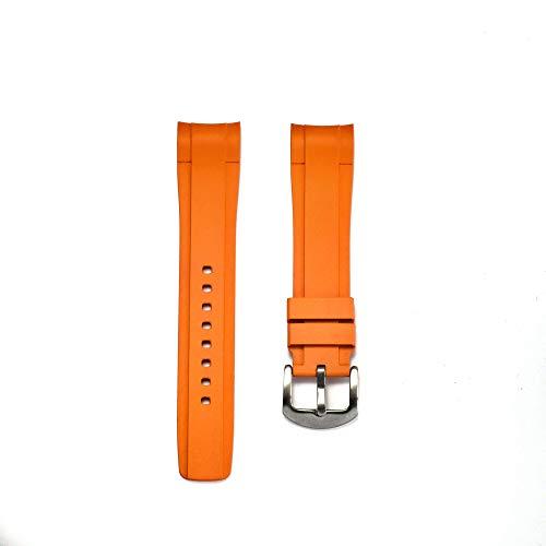 Pulsera de caucho para Omega® Seamaster Diver 300 m Co-Axial 41 mm 'Commander's Watch' – cepillada, naranja