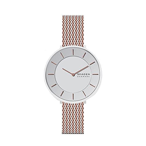 Skagen - Reloj analógico de Cuarzo Gitte con Correa de Malla de Acero Inoxidable 2T Plateado/Rosa para Mujer SKW3014