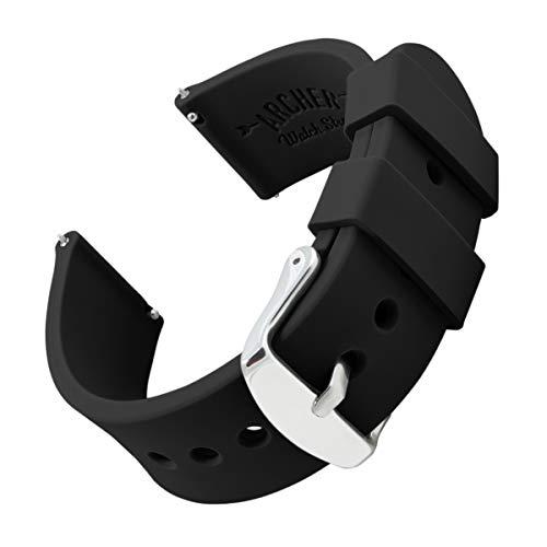 Archer Watch Straps | Repuesto de Correa Reloj de Silicona para Hombre y Mujer, Caucho Fácil de Abrochar para Relojes y Smartwatch | Negro, 22mm