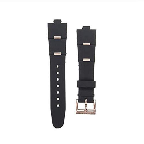GOZAR Oro Y Oro Rosa Silicagel Reloj Banda Watch Correa Compatible con Reloj-Rosa Rojo-24Mm