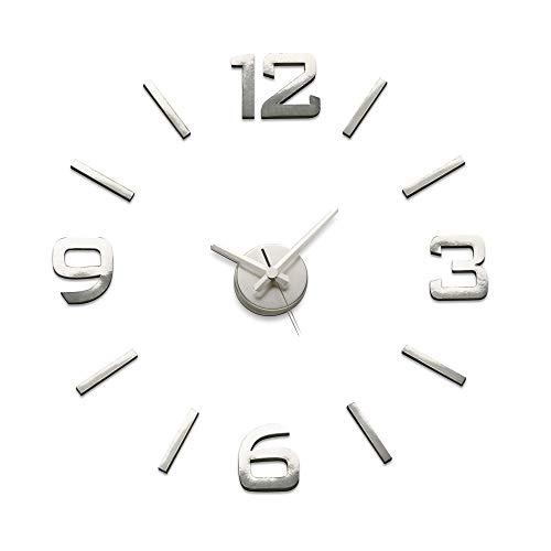 Versa Klistermärke Reloj de Pared Silencioso Decorativo para la Cocina, el Salón, el Comedor o la Habitación, Estilo Moderno, Medidas (Al x L x An) 60 x 3 x 60 cm, Polipropileno, Color Plateado