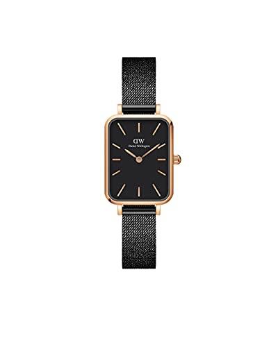 Daniel Wellington Reloj Quadro Ashfield, pulsera de malla negra mate, 20x26mm