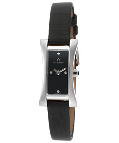Eterna 2610-41-46-1120 Sahida Diamond - Reloj de pulsera para mujer con esfera y satén, color negro