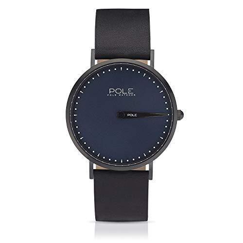 Pole Watches Reloj de Pulsera Analógico Monoaguja de Cuarzo para Hombre Esfera Azul y Correa de Cuero Negro Modelo Classic Indigo C-1002AZ-NE07