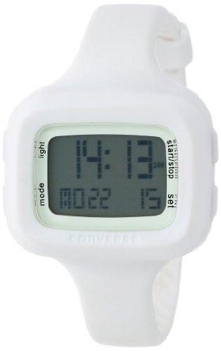 Converse Understatement - Reloj digital de mujer de cuarzo con correa de silicona blanca (alarma, cronómetro) - sumergible a 30 metros