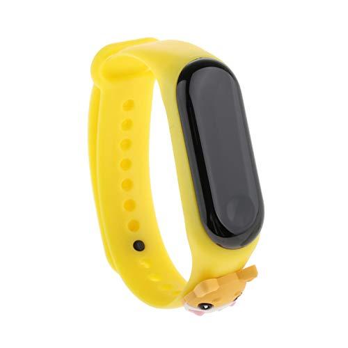 freneci Reloj de Pulsera Deportivo Casual Blanco LED Digital electrónico Color Caramelo Reloj de Pulsera de Silicona para niños - Amarillo