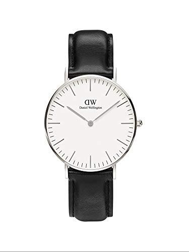 Daniel Wellington Classic Sheffield, Reloj Negro/Plateado, 36mm, Cuero, para Mujer y Hombre