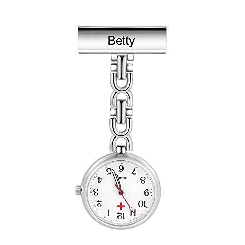 Reloj de Enfermera Personalizado Reloj de Bolsillo Enfermera Nombre Reloj de Enfermera Portátil Reloj de Bolsillo Retro Regalo Cumpleaños Conmemorativo para Mujer Madre Padre (Plata)