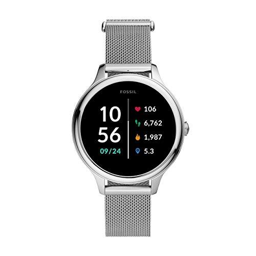 Fossil Connected Smartwatch Gen 5E para Mujer con tecnología Wear OS de Google, frecuencia cardíaca, GPS, NFC y notificaciones smartwatch, Milanesa de acero inoxidable