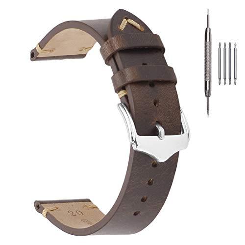 Correas de Reloj de Cuero de 20 mm, EACHE Aceite de Cera Banda de Reloj de Piel de Becerro Reloj de Hombre Bandas de Repuesto Marrón Oscuro