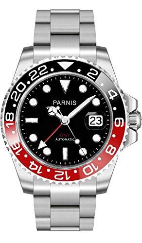 CursOnline Reloj de pulsera automático para hombre de acero Parnis PN840 esfera negra cristal zafiro bisel giratorio negro y rojo manecilla roja función GMT fecha movimiento automático Mingzhu 3804