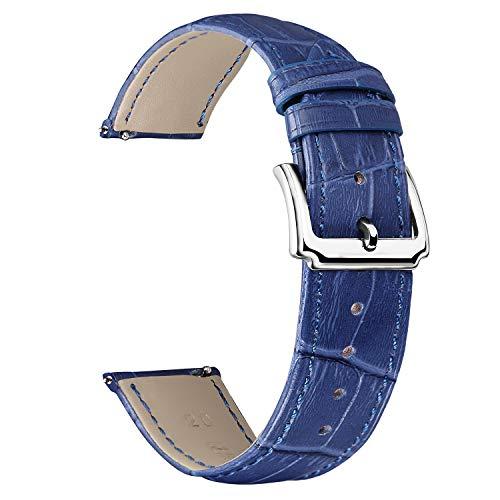 BINLUN Correa de Reloj de Cuero Genuino Mujeres Hombres Correa de Reloj de Cuero de liberación rápida con opción de 12 Colores (10mm 12mm 14mm 15mm 16mm 17mm 18mm 19mm 20mm 21mm 22mm 23mm)