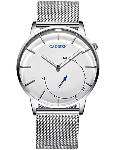 Reloj de los hombres Reloj de pulsera de diseño de acero inoxidable plateado Relojes ultrafinos de marca para hombres