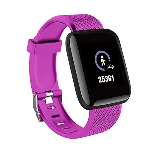 QiKun-Home Deportes Reloj Inteligente Pulsera Impermeable Reloj de Ritmo cardíaco Rastreador de Ejercicios Pulseras prácticas portátiles púrpura