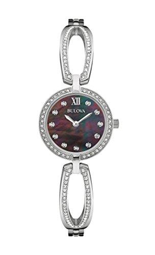 Bulova Mujer Swarovski Cristal Negro Dial Reloj