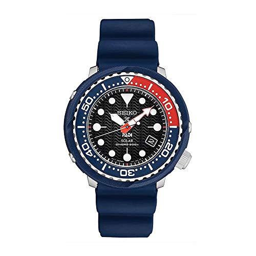 Seiko PADI SNE499 - Reloj de buceo solar con correa de silicona negra, edición especial, 200 m