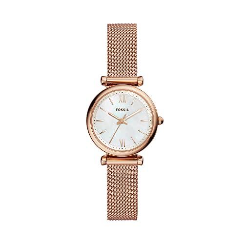 Reloj para mujer FOSSIL Carlie Mini, tamaño de caja de 28 mm, movimiento de cuarzo, correa de acero inoxidable