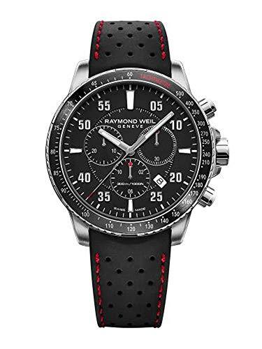 Reloj de Cuarzo Raymond Weil Tango, Negro, 43mm, Día, Cronógrafo, 8570-SR1-05207