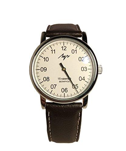 Reloj mecánico de una mano LUCH. 77471146 Hombre, Cromo, Forma Redonda, Cristal Mineral, Cuero.