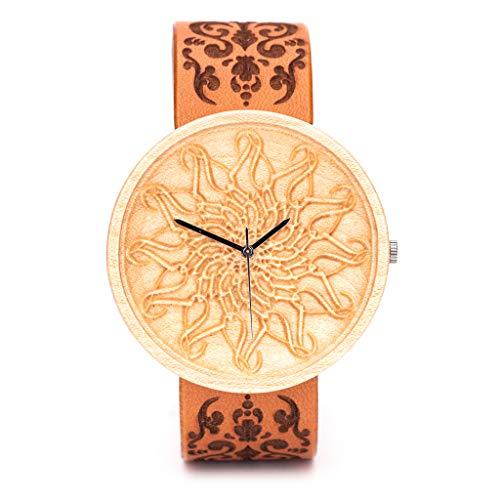 Reloj de Madera Grabado, Caja de Madera Natural, Reloj Ligero y Elegante, Sostenible Ovi Wood Watch
