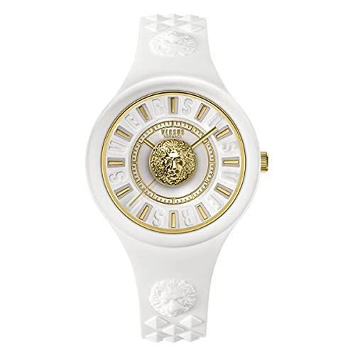 Versus Versace Fire Island - Reloj de pulsera para mujer, 39 mm, correa de silicona, color: blanco/dorado