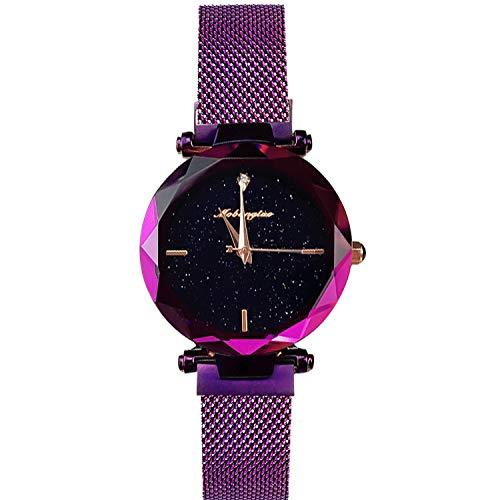 RORIOS Mujer Relojes de Pulsera Brillante Cielo Estrellado Mesh Bracelet Band Diamante Simulado Dial Relojes de Mujer Ladies Watches