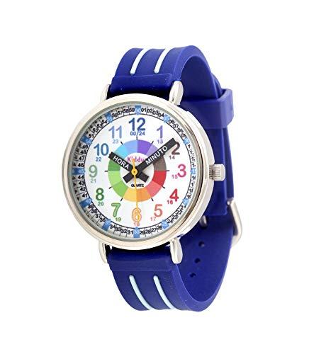 KIDDUS Reloj Educativo para niño, Chica, Chico. De Pulsera, analógico. Time Teacher fácil de Leer para Aprender la Hora. Ejercicios incluídos. Manillas Escritas. Azul