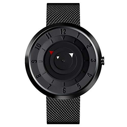 Reloj de pulsera negro para hombre, minimalista, analógico, de cuarzo, reloj de pulsera para hombre, reloj de hombre de Horloge con correa de acero inoxidable y mecanismo japonés