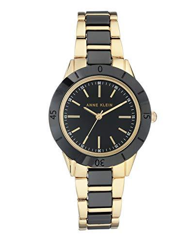Anne Klein - Reloj de pulsera para mujer (mecanismo de cuarzo y correa de cerámica), color negro y dorado