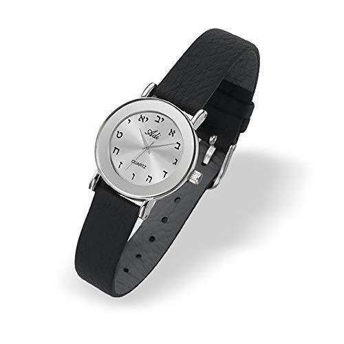 Adi por Tienda de Defensa de Israel Judaica Hebreo Letras Reloj de Pulsera de Mujer, Piel, Plata, Cuarzo