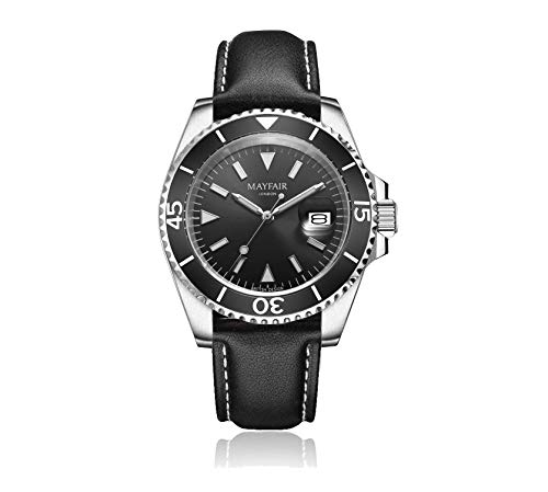 Blenheim London® Reloj Navegador Luminoso de Hombre, Cristal de Zafiro, Resistente al Agua, Esfera Negra.