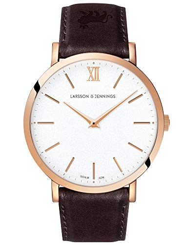 Larsson & Jennings LJXII Lugano Unisex Hombres & Mujer Relojes with 40mm Satin White dial and Brown Leather Strap LX40-LBR-RGW.