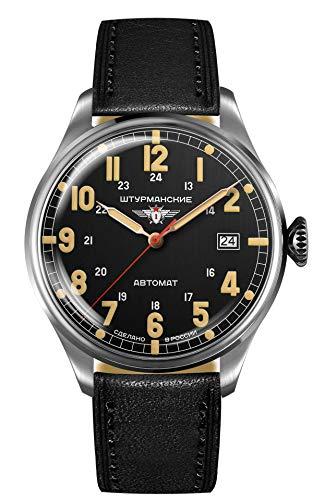 Sturmanskie Reloj de hombre Heritage Arctic automático con correa de piel y fecha 42 mm, Plateado Negro Negro, Correas.