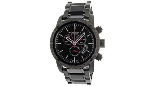 B U R B E R R y Deporte cronógrafo Negro Dial Negro Goma Mens Reloj BU7703