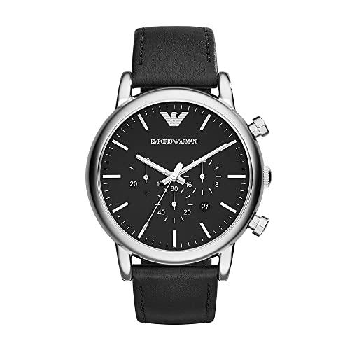 Emporio Armani Reloj Cronógrafo para Hombre de Cuarzo con Correa en Cuero AR1828