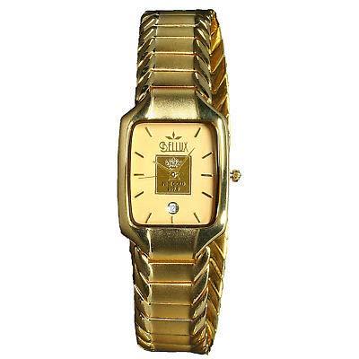 Reloj Bellux chapado en oro de 23 quilates.