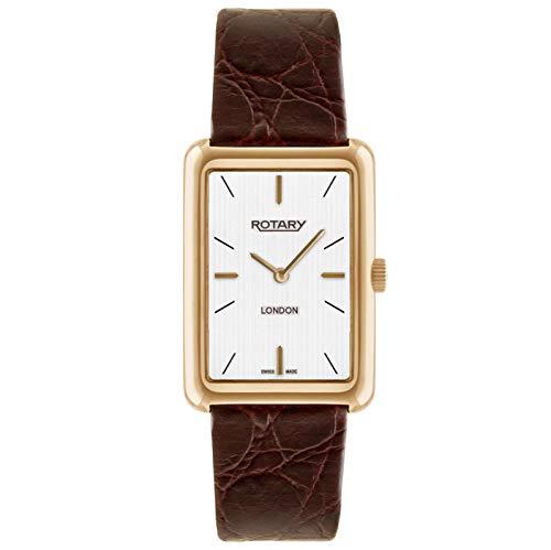 Rotary Reloj de cuarzo para hombres con pantalla analógica de esfera blanca y correa de cuero marrón GS90991/02