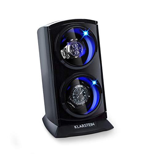 KLARSTEIN St. Gallen Premium Estuche Giratorio para 2 Relojes - 4 velocidades, Rotación bidireccional, Cojines Revestimiento Terciopelo, Tapa Transparente Vidrio acrílico, LED Azul, Negro