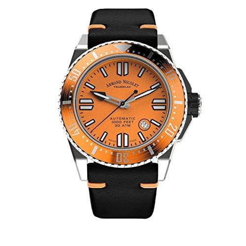 Armand Nicolet - Reloj de hombre automático JSS naranja de buceo impermeable 300 m A480HOA-OR-P0480NO8