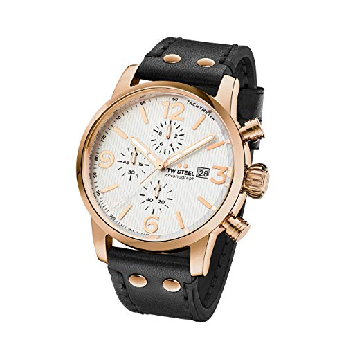 TW Steel Reloj Cronógrafo para Unisex Adultos de Cuarzo con Correa en Cuero MS73