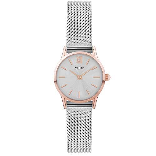 Cluse La Vedette CW0101206004 - Reloj analógico de Cuarzo para Mujer (24 mm, Correa de Acero y Caja de Cuarzo), Color Plateado