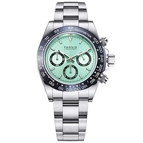 WhatsWatch Parnis Commender Seriers Luminous Reloj de Pulsera de Acero Inoxidable para Hombre, cronógrafo Deportivo Militar, Reloj de Cuarzo