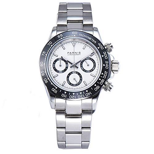 Parnis - Reloj de Pulsera para Hombre (39 mm, Esfera Blanca, Bisel Negro, Cristal de Zafiro, función de cronógrafo, Movimiento de Cuarzo japonés)
