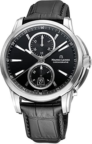 Maurice Lacroix Pontos PT6178-SS001-330-1 - Reloj de pulsera analógico automático para hombre con correa de piel negra
